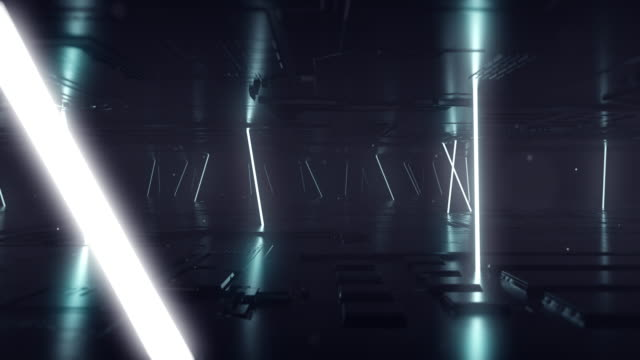 3d render, glowing lines, tunnel, neon lights, virtual reality, abstract background, - neon stock videos & royalty-free footage