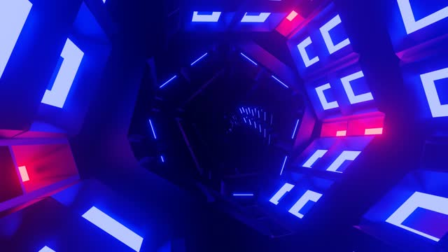 3d render. pentagon tunnel with red and blue lights. sci-fi. space - infinity stock videos & royalty-free footage