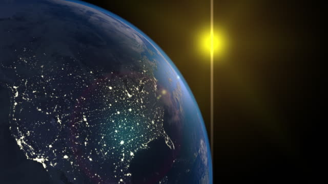 3d Render using satellite imagery (NASA). Planet earth America zone with night time and sunrise from space