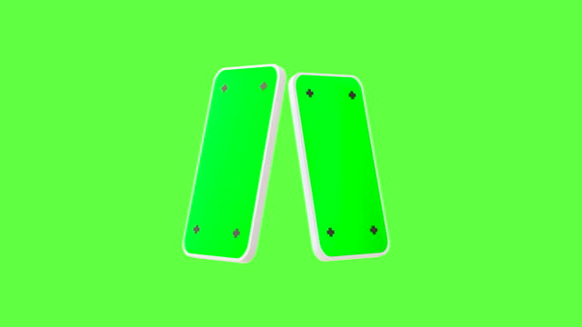 3d render white smart phone isolated on green screen background. alpha loop matte composition. - focus on background stock videos & royalty-free footage