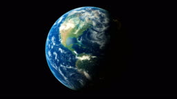 3d Render World Spinning Seamless Loop Animation Showing Planet Earth