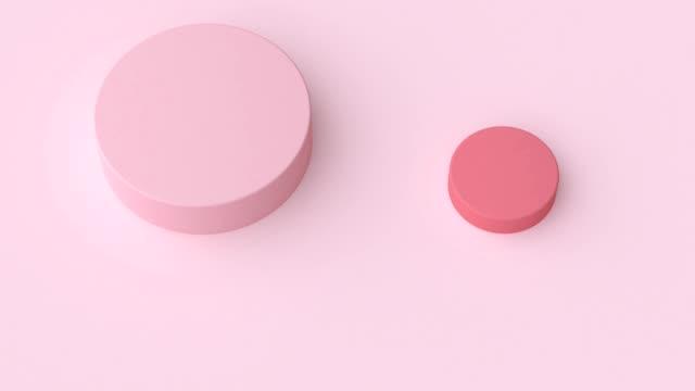 vidéos et rushes de 3d rendu abstrait motion graphique minimal plat rose forme géométrique - illustration
