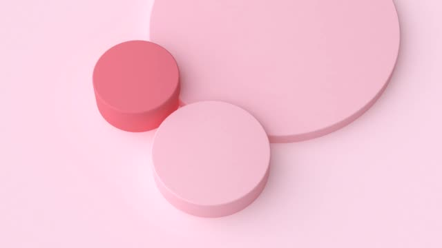 3d rendering abstract motion graphic minimal flat pink geometric shape - pastel stock videos & royalty-free footage