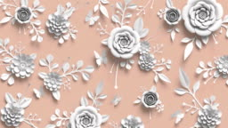 3d rendering, animation of growing floral background, blooming paper flowers, botanical pattern, papercraft, pastel colors, bright hue palette
