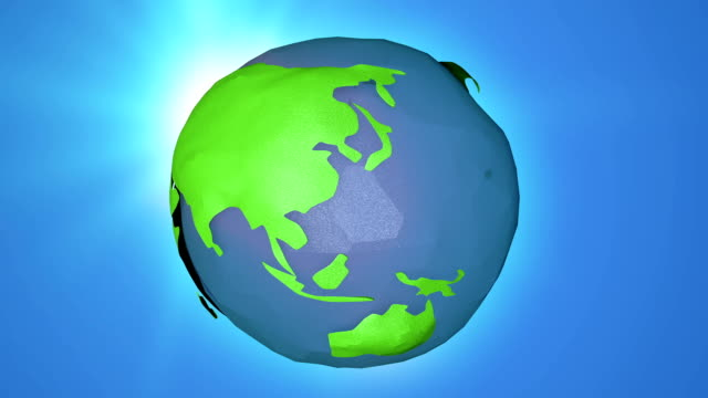 3d rendering cartoon  globe rotating animation, loop-able background - map icon stock videos and b-roll footage