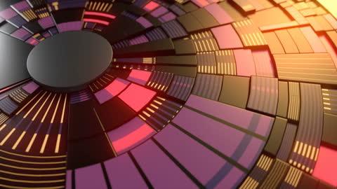 暗いハイテクの動きの形にカラフルなグローパターンをレンダリングする3d。未来的な回路の背景。技術コンセプト。デジタルシームレスなループアニメーション。4k、ウルトラhd解像度 - ディスク点の映像素材/bロール