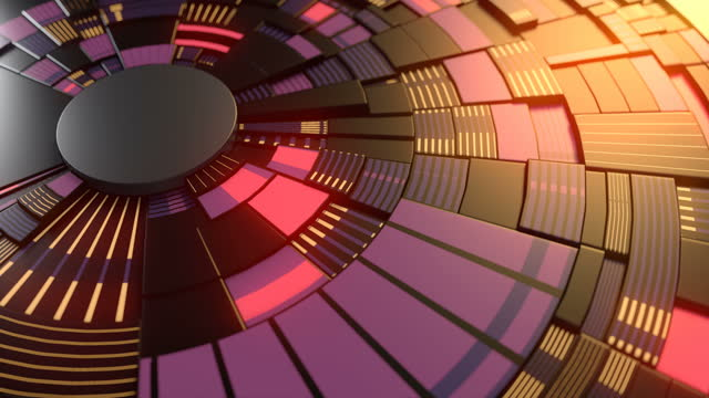 3d rendering colorful glow pattern on dark hi-tech movement shapes. futuristic circuit backdrop. technology concept. digital seamless loop animation. 4k, ultra hd resolution - disk stock videos & royalty-free footage