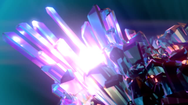 3d rendering digital animation with shiny rotating crystals. light energy is reflected in gem. 4k, ultra hd resolution - fantasy stock videos & royalty-free footage