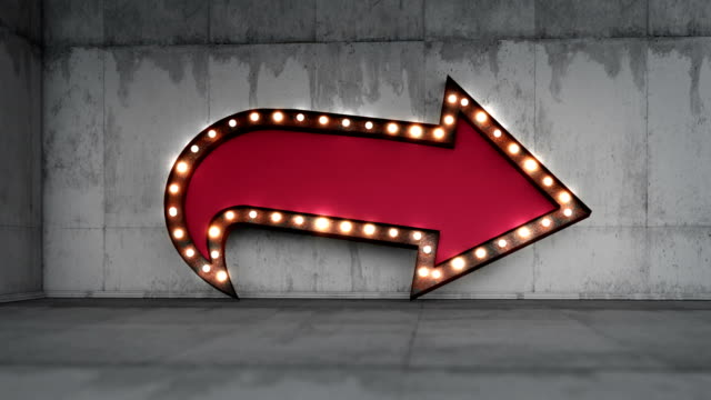 3d rendering loop-able bulb arrow frame animation background - sign stock videos & royalty-free footage