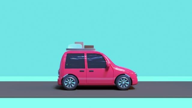 vídeos y material grabado en eventos de stock de 3d renderizado movimiento abstracto estilo de dibujos animados coche de viaje de la naturaleza vacaciones caoncept - ilustración