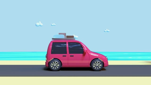 3d rendering motion abstract cartoon style car driving travel nature vacation holiday caoncept - illustration stock videos & royalty-free footage