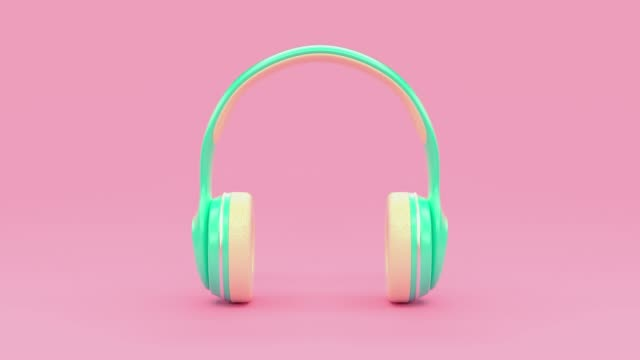 3d rendering motion cartoon style music technology concept pastel colorful scene - still life video stock e b–roll