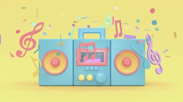 3d rendering motion cartoon style music technology concept pastel colorful scene - musical note stock videos & royalty-free footage