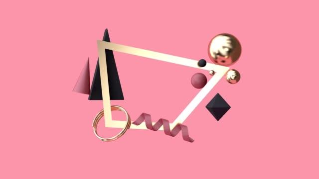vidéos et rushes de 3d image de scène or rendu motion graphique abstrait géométrique lévitation rouge - groupe d'objets