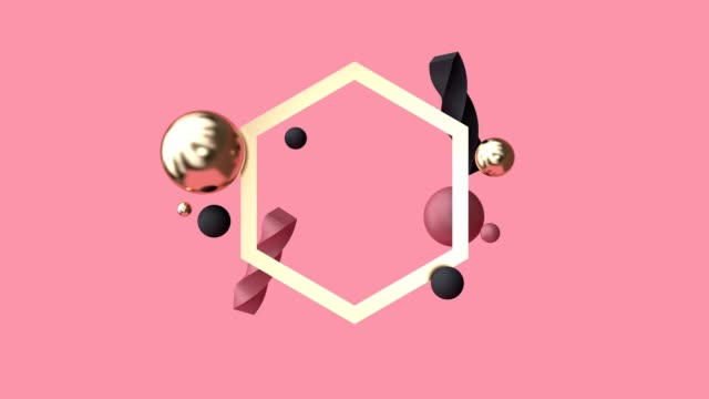 3d rendering motion graphic abstract geometric shape levitation red scene gold frame - hexagon stock videos & royalty-free footage