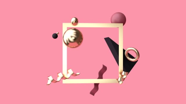 3d rendering motion graphic abstract geometric shape levitation red scene gold frame - still life video stock e b–roll