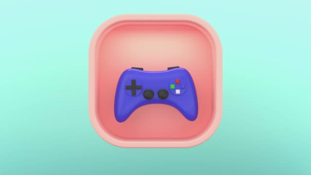 vídeos de stock, filmes e b-roll de 3d renderização joystick ícone fundo verde - esparso