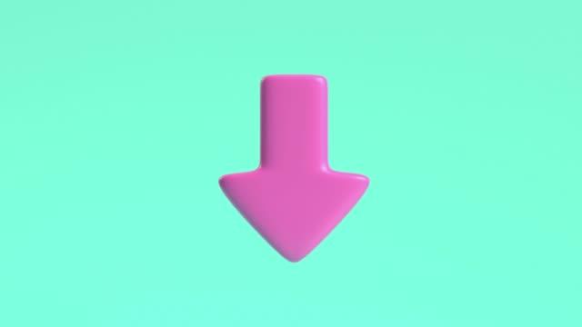 vídeos y material grabado en eventos de stock de 3d renderización de movimiento flecha rosa apuntando hacia abajo fondo verde - debajo de