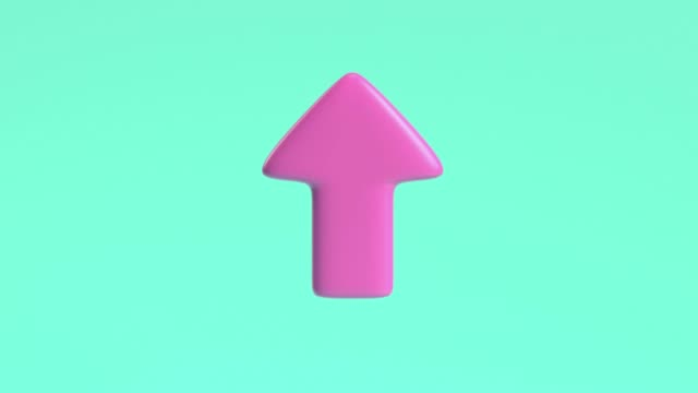 3d rendering motion pink arrow pointing up green background - arrow symbol stock videos & royalty-free footage