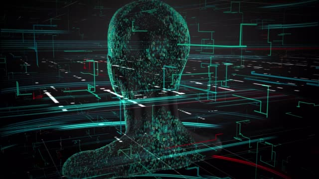 3d rendering of human on geometric element technology virtual abstract technology social network social media marketing internet concept background - emisfero cerebrale video stock e b–roll