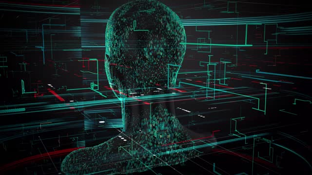 3d rendering of human on geometric element technology virtual abstract technology social network social media marketing internet concept background - cerebral hemisphere stock videos & royalty-free footage