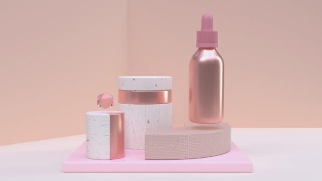 vídeos y material grabado en eventos de stock de 3d renderizado de oro rosa metálico de la botella de movimiento abstracto - embalaje