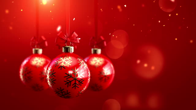 3d rendering three red decorated christmas balls with bows on sparkling background seamlessly loop-able animation - christmas decoration stock videos & royalty-free footage