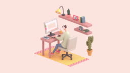 3d seamless animation of young man sitting at office desk working on computer.