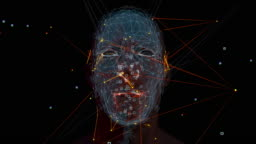 3d security concept of person analysis with face scanning. Privacy concept.
