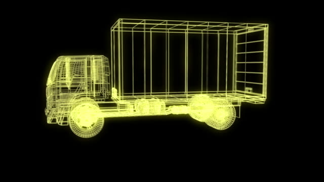 3d vehicle trailer truck Package wire frame
