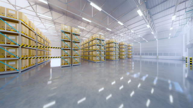 interno magazzino 3d - box container video stock e b–roll