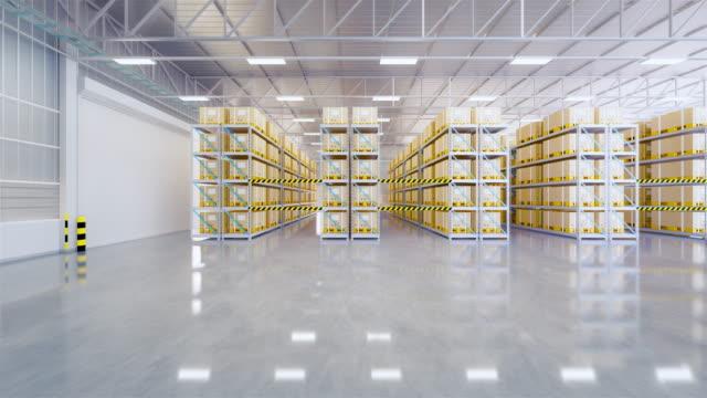 3d lagerpfanne - lagerhalle stock-videos und b-roll-filmmaterial