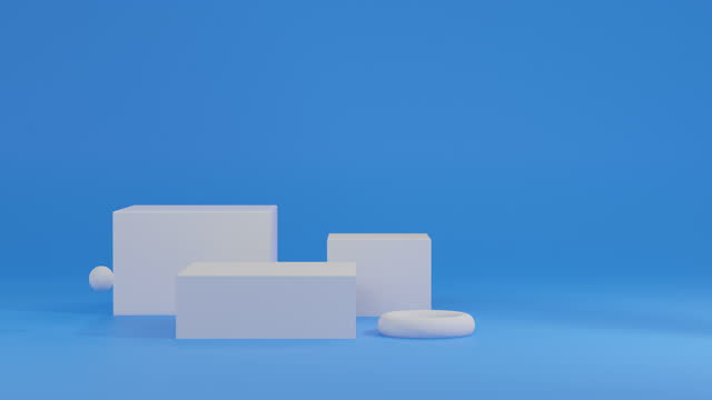 3d white minimal styles podium display animation on blue background, 3d rendering - drawing artistic product stock videos & royalty-free footage