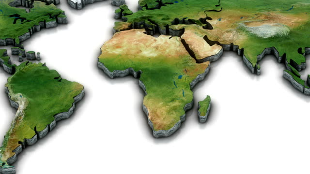 3d world map zoom to africa - physical geography stock videos & royalty-free footage