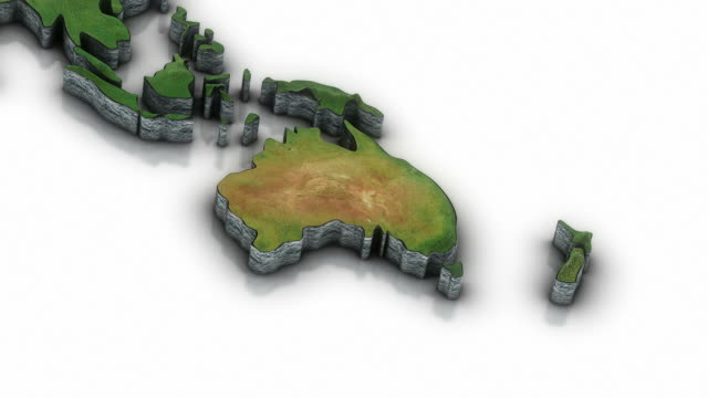 3d World map zoom to Australia area