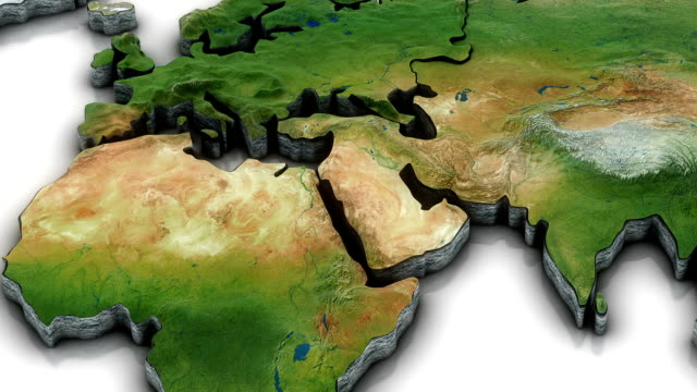 3 d mappa del mondo zoom in medio oriente ed area - continente area geografica video stock e b–roll