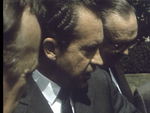 stockvideo's en b-roll-footage met 3jun1969 montage correspondents in washington walking to the white house where they met with president nixon / washington dc usa - publiciteitsmedewerker
