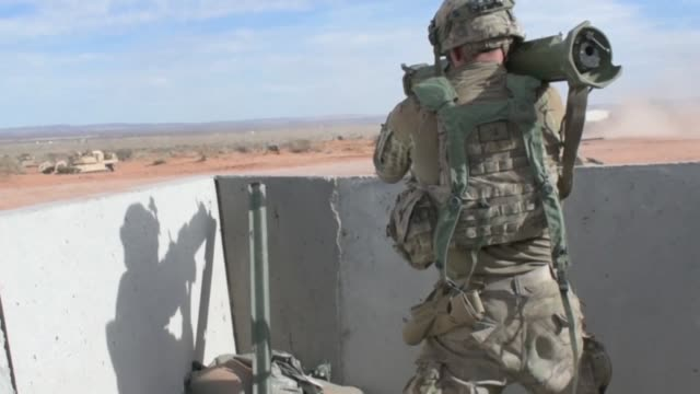 3rd armored brigade combat team 1st armored division conducted iron focus 181 in orogrande nuevo mexico - rocket launcher stock videos & royalty-free footage