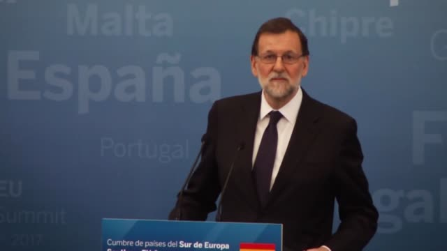 3rd summit of the southern european countries of european unionend in madrid spain on april 10 2017 spanish prime minister mariano rajoy french... - eurasia stock videos and b-roll footage