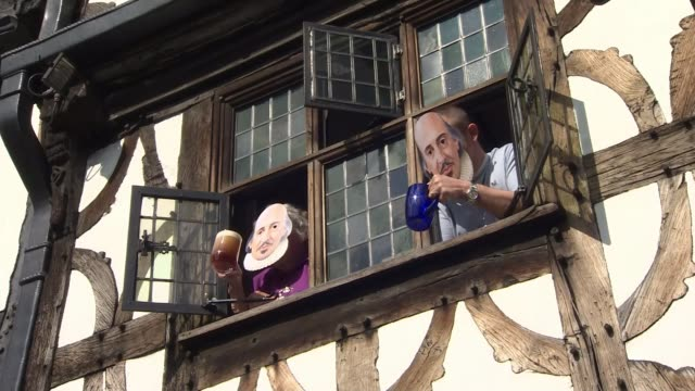 400th anniversary of shakespeare's death including prince charles performance **music heard sot** people leaning out of timber framed building window... - william shakespeare stock videos & royalty-free footage