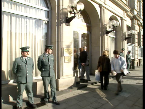 40th anniversary ceremony / refugees besiege us embassy / berlin demonstrations / mikhail gorbachev visit embassy doorman prevents young man from... - east germany stock videos and b-roll footage