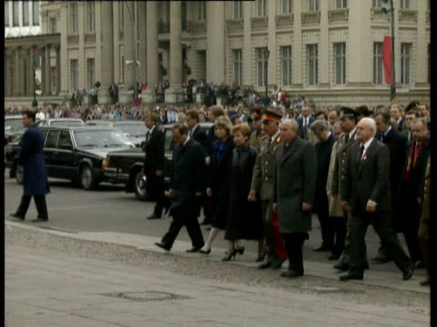 40th anniversary of East Germany Raisa and Mikhail Gorbachev watch three German soldiers 'goosestep' slowly back and forth holding red wreath /...