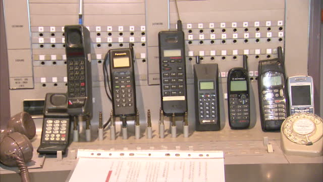 40th anniversary of the mobile phone at telephone museum on april 03, 2013 in milton keynes, england - 記念日点の映像素材/bロール