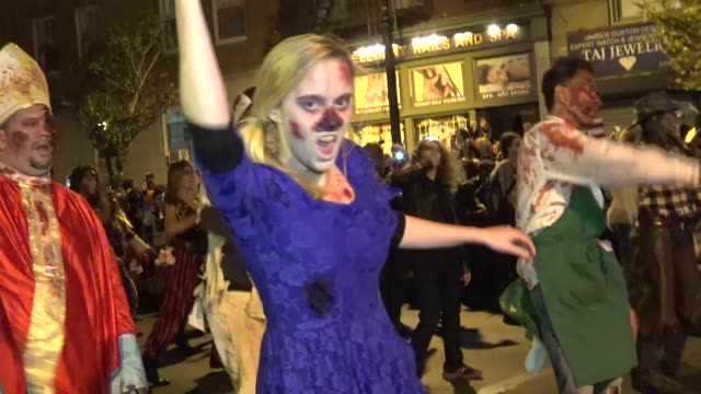 42nd annual greenwich village halloween parade via 6th avenue in the west village / downtown manhattan new york city usa / dancing to michael... - michael jackson stock videos and b-roll footage