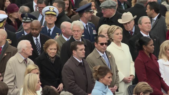 42nd President of the United States William Jefferson Bill Clinton and his wife Hillary Rodham Clinton arrive for the inauguration of Donald Trump...