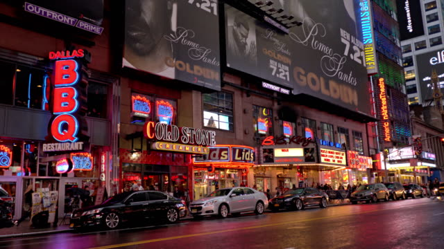 42nd street at dusk rain time - theatre district stock videos & royalty-free footage