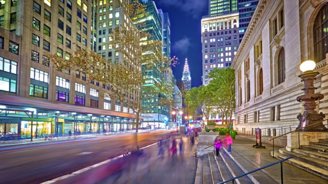 42nd street at night and Chrysler Building