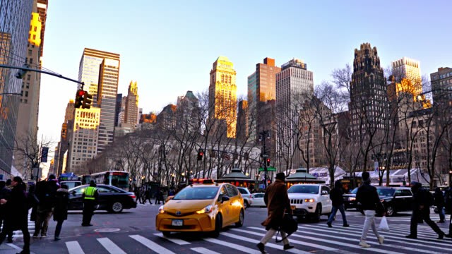 42nd street. bryant park. people. traffic - yellow taxi stock videos & royalty-free footage