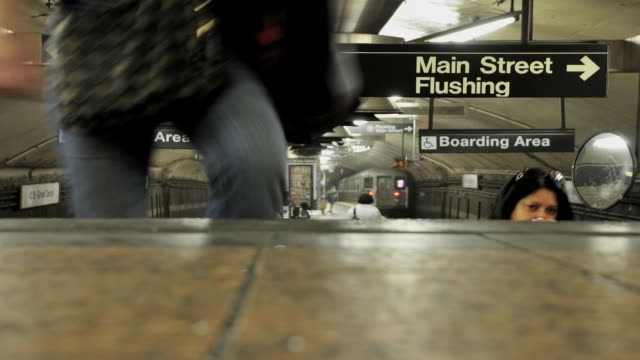 LAPSE 42nd Street Grand Central Terminal Number 7 subway platform Midtown Manhattan New York City USA TIME LAPSE Grand Central Terminal Number 7...