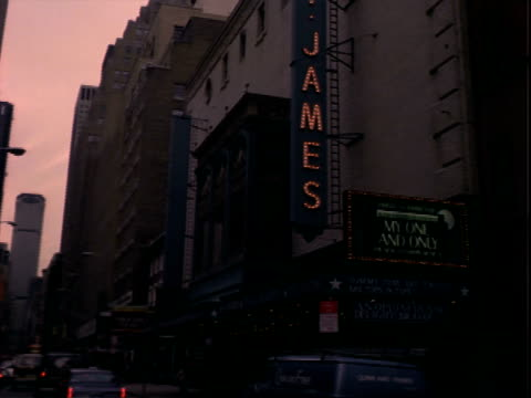 42nd street' sign on marquee at majestic theater / facade and sign for 'my one and only' starring tommy tune st james theater sign for 'my one and... - broadway manhattan stock videos and b-roll footage